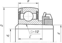 Подшипники шариковые радиальные однорядные с двухсторонним уплотнением, сферической посадочной поверхностью наружного кольца и закрепительной втулкой