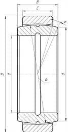 Подшипники шарнирные с отверстиями и канавками для смазки во внутреннем кольце с двухразломным наружным кольцом