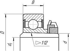 Подшипники шариковые радиальные однорядные с двумя защитными шайбами и закрепительной втулкой
