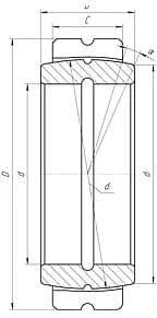 Подшипники шарнирные с отверстиями и канавками для смазки на внутреннем и наружном кольцах с двухразломным наружным кольцом