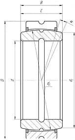 Подшипники шарнирные с двухсторонним уплотнением, отверстиями и канавками для смазки на внутреннем и наружном кольцах с одноразломным наружным кольцом